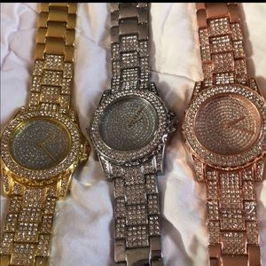 New Crystal Women's Watches Gold, Silver rosetone